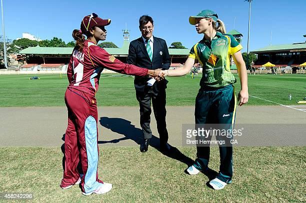 Meg Lanning of Australia and Merissa Ria Aguilleira of West Indies shake hands during the women's International Twenty20 match between Australia and...