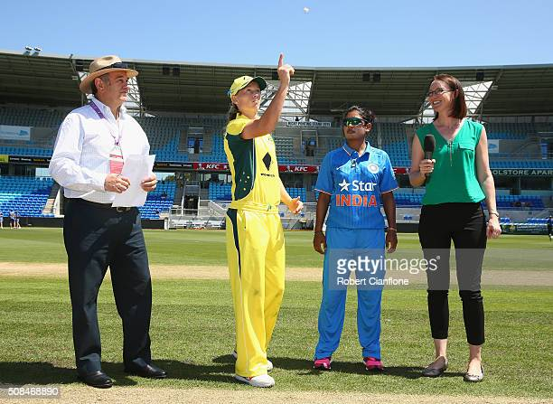 Meg Lanning of Australia and Mithali Raj of India are seen at the coin toss priorto game two of the women's one day international series between...