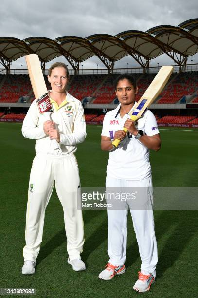 Meg Lanning of Australia and Mithali Raj of India pose during a media opportunity ahead of the Women's International Test match between Australia and...