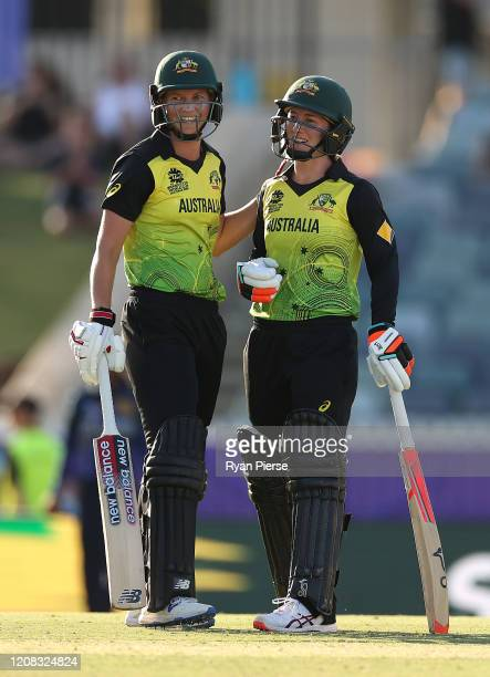 Meg Lanning of Australia and Rachael Haynes of Australia look on during the ICC Women's T20 Cricket World Cup match between Australia and Sri Lanka...