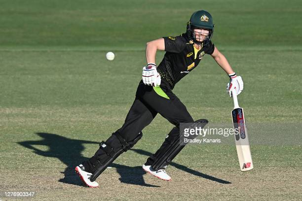 Meg Lanning of Australia bats during game two of the T20 Women's International series between Australia and New Zealand at Allan Border Field on...