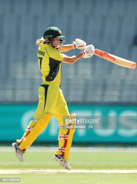 Meg Lanning of Australia bats during the first Women's International Twenty20 match between Australia and New Zealand at the Melbourne Cricket Ground...