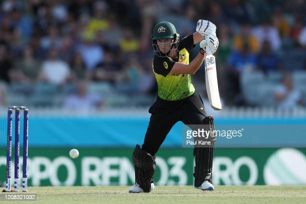 Meg Lanning of Australia bats during the ICC Women's T20 Cricket World Cup match between Australia and Sri Lanka at the WACA on February 24, 2020 in...