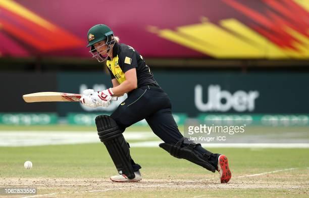 Meg Lanning of Australia bats during the ICC Women's World T20 2018 match between India and Australia at Guyana National Stadium on November 17 2018...