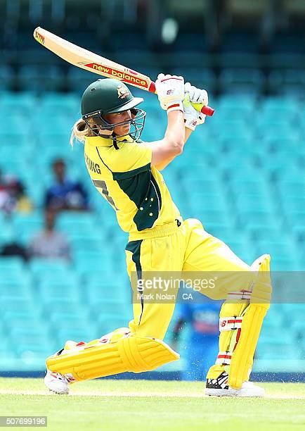 Meg Lanning of Australia bats during the International Twenty20 match between Australia and India at Sydney Cricket Ground on January 31 2016 in...
