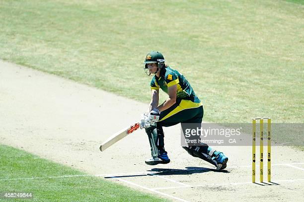 Meg Lanning of Australia bats during the women's International Twenty20 match between Australia and the West Indies at North Sydney Oval on November...