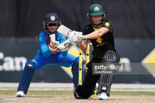 Meg Lanning of Australia bats during the Women's Twenty20 TriSeries Final between Australia and India at Junction Oval on February 12 2020 in...