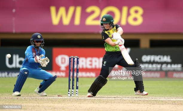Meg Lanning of Australia bats with Taniya Bhatia wicket keeper of India looking on during the ICC Women's World T20 2018 match between India and...