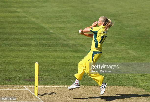 Meg Lanning of Australia bowls during game two of the women's one day international series between Australia and India at Blundstone Arena on...