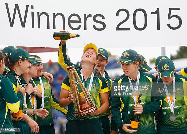 Meg Lanning of Australia captain of Australia celebrates winning the Ashes during the 3rd NatWest T20 of the Women's Ashes Series between England and...