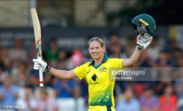 Meg Lanning of Australia celebrates her century during the England v Australia 1st Vitality Women's IT20 match at Cloudfm County Ground on July 26,...