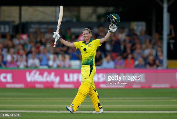 Meg Lanning of Australia celebrates her century during the England v Australia 1st Vitality Women's IT20 match at Cloudfm County Ground on July 26...