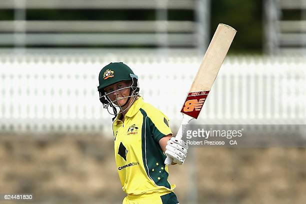 Meg Lanning of Australia celebrates her half century during the women's one day international match between the Australia Southern Stars and South...