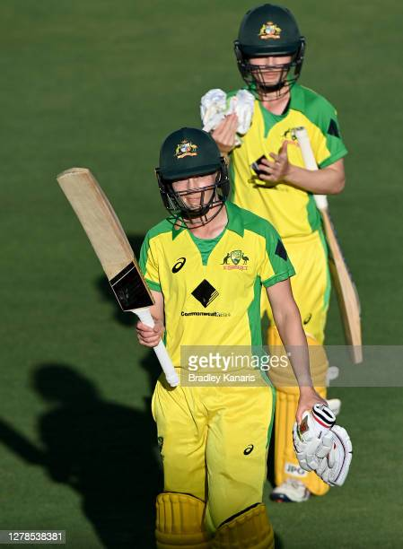 Meg Lanning of Australia celebrates victory and her century after game two of the Women's International series between Australia and New Zealand at...
