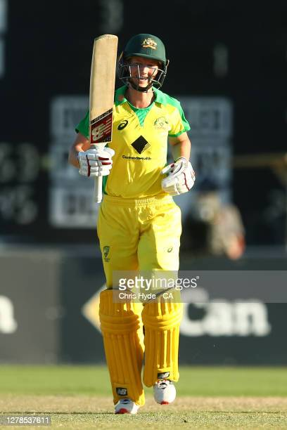 Meg Lanning of Australia celebrates victory and her century during game two of the Women's International series between Australia and New Zealand at...