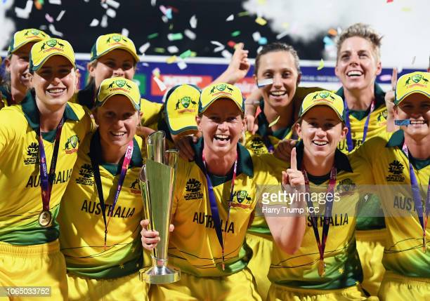 Meg Lanning of Australia celebrates with the trophy during the ICC Women's World T20 2018 Final between Australia and England at Sir Vivian Richards...