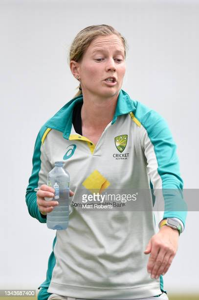 Meg Lanning of Australia during a training session after a media opportunity ahead of the Women's International Test match between Australia and...