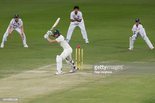 Meg Lanning of Australia during day four of the Women's International Test Match between Australia and India at Metricon Stadium on October 03, 2021...