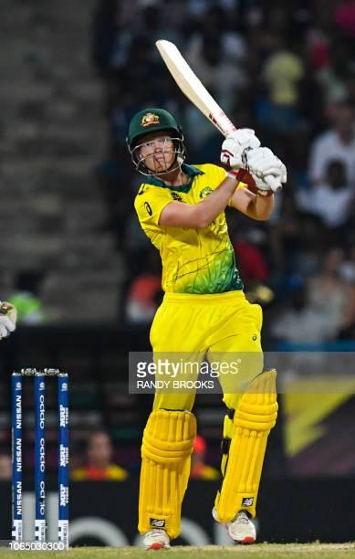 Meg Lanning of Australia hits 4 during the ICC Women's World T20 final cricket match between Australia and England at Sir Vivian Richards Cricket...