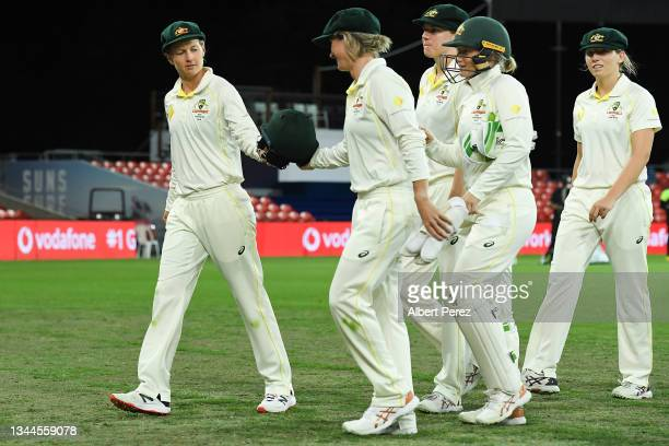 Meg Lanning of Australia leads the team off the field after India declared during day four of the Women's International Test Match between Australia...