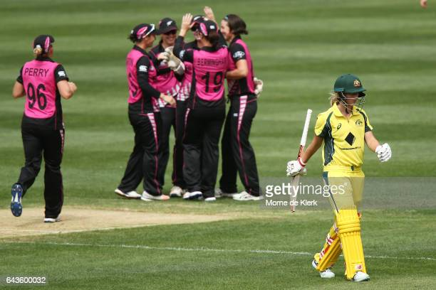 Meg Lanning of Australia leaves the field after getting out to Holly Huddleston of New Zealand during the Women's Twenty20 International match...