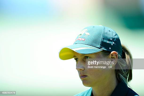 Meg Lanning of Australia looks on during the women's International Twenty20 match between Australia and the West Indies at North Sydney Oval on...