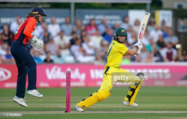 Meg Lanning of Australia plays a shot during the England v Australia 1st Vitality Women's IT20 match at Cloudfm County Ground on July 26, 2019 in...