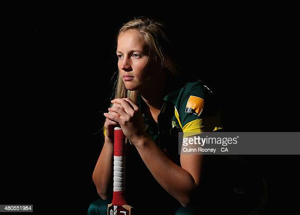 Meg Lanning of Australia poses during the official farewell for the Australian Women's Ashes Series on July 13 2015 in Melbourne Australia