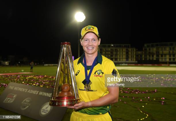Meg Lanning of Australia poses with the trophy during the 3rd Vitality Women's IT20 match between England and Australia at The County Ground on July...