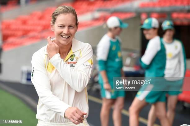 Meg Lanning of Australia speaks to media representatives during a media opportunity ahead of the Women's International Test match between Australia...