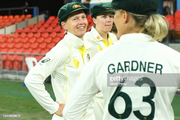 Meg Lanning of Australia speaks to team mates during day four of the Women's International Test Match between Australia and India at Metricon Stadium...