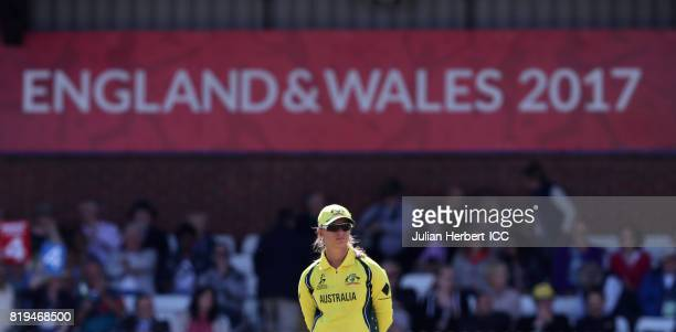 Meg Lanning of Australia stands in the field during The Womens World Cup 2017 SemiFinal between Australia and India at The County Ground on July 20...