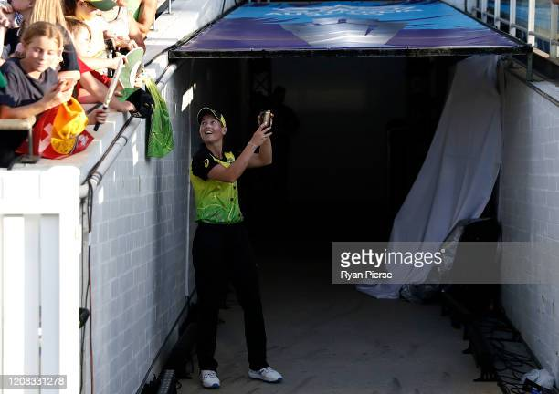Meg Lanning of Australia talks to fans after the ICC Women's T20 Cricket World Cup match between Australia and Sri Lanka at the WACA on February 24,...