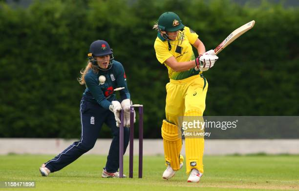 Meg Lanning of Australia Women is bowled out by Freya Davies of England Women's Academy during the match between England Women's Academy and...