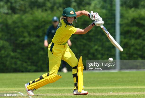 Meg Lanning of Australia Women plays a shot during the match between England Women's Academy and Australia Women at Haslegrave Ground on June 28 2019...
