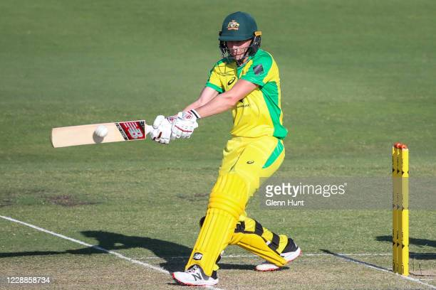 Meg Lanning of the Australia bats during game one in the women's One Day International Series between Australia and New Zealand at Allan Border Field...