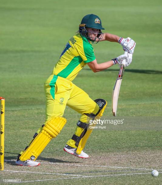 Meg Lanning of the Australia batting during game one in the women's One Day International Series between Australia and New Zealand at Allan Border...