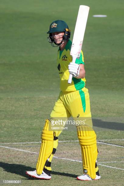 Meg Lanning of the Australia scores 50 runs during game one in the women's One Day International Series between Australia and New Zealand at Allan...