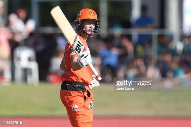 Meg Lanning of the Scorchers brings up 50 runs during the Women's Big Bash League match between the Brisbane Heat and the Perth Scorchers at Allan...