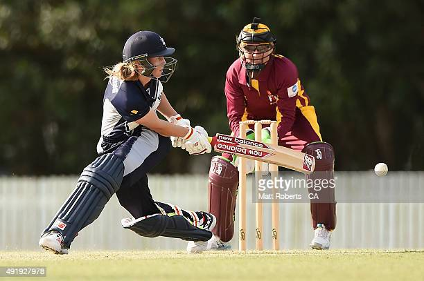 Meg Lanning of the Spirit bats during the round one WNCL match between Queensland and Victoria at Allan Border Field on October 9 2015 in Brisbane...