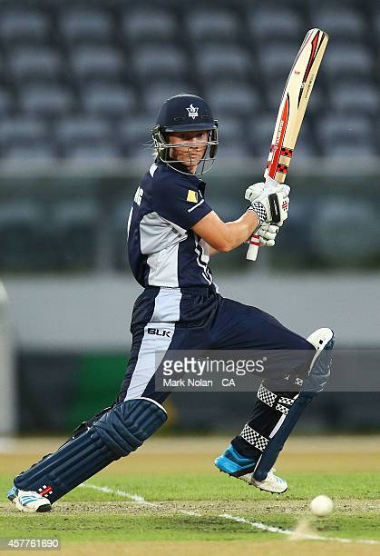 Meg Lanning of the Spirit bats during the women's T20 match between the ACT and Victoria at Manuka Oval on October 24 2014 in Canberra Australia