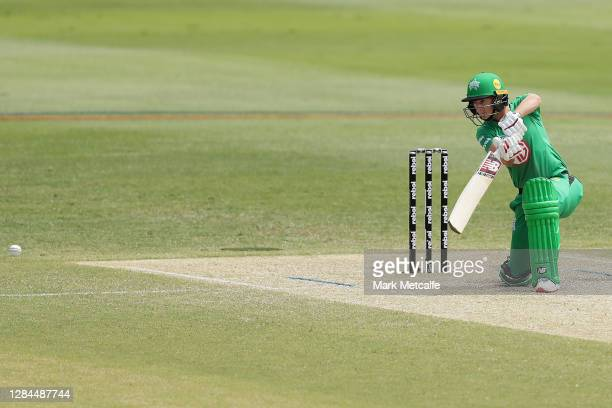 Meg Lanning of the Stars bats during the Women's Big Bash League WBBL match between the Brisbane Heat and the Melbourne Stars at North Sydney Oval,...