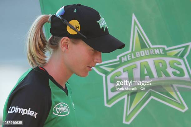 Meg Lanning of the Stars walks down the tunnel before the Women's Big Bash League WBBL Semi Final match between the Melbourne Stars and the Perth...
