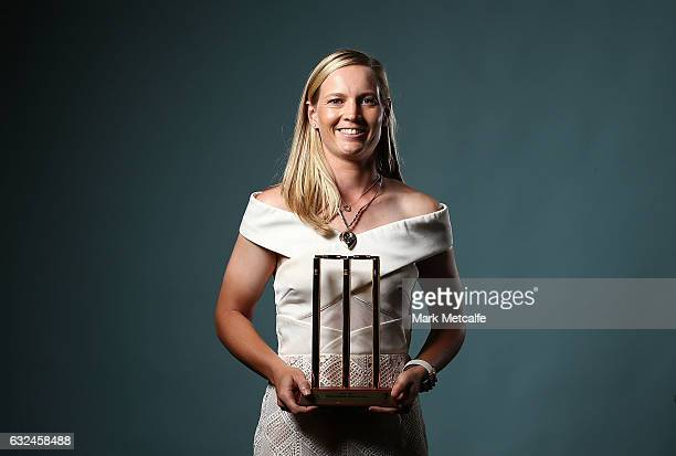 Meg Lanning poses after winning the Belinda Clark Award and the Women's Domestic Player of the Year award during the 2017 Allan Border Medal at The...
