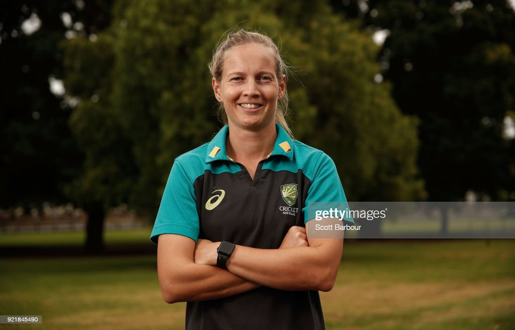 Meg Lanning poses during a Cricket Australia media opportunity at the Melbourne Cricket Ground on February 21, 2018 in Melbourne, Australia. Australia captain Meg Lanning will return to lead her country in next month's tour of India, while promising young allrounders Sophie Molineux and Nicola Carey are in line to make their international debuts.