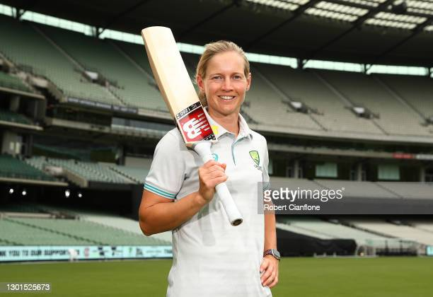 Meg Lanning poses during the launch of THE RECORD documentary by Amazon Prime featuring the Australian Women's cricket team's successful 2020 Cricket...