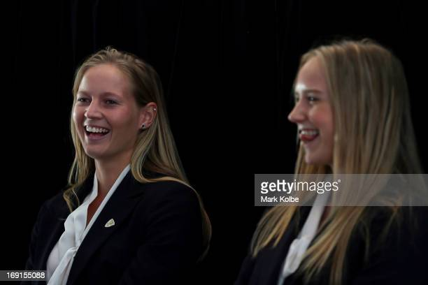 Meg Lanning shares a laugh with Ellyse Perry on stage during the Australian Southern Stars Ashes Squad Announcement at the Sydney Cricket Ground on...