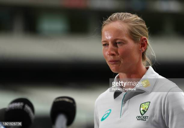 Meg Lanning speaks during the launch of THE RECORD documentary by Amazon Prime featuring the Australian Women's cricket team's successful 2020...