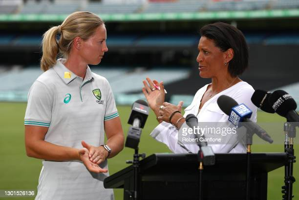 Meg Lanning speaks with Mel Jones during the launch of THE RECORD documentary by Amazon Prime featuring the Australian Women's cricket team's...