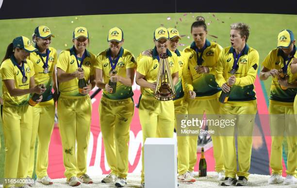 Meg Lanning the Australian captain lifts the Ashes trophy following her side's series victory during the 3rd Vitality Women's IT20 at The County...